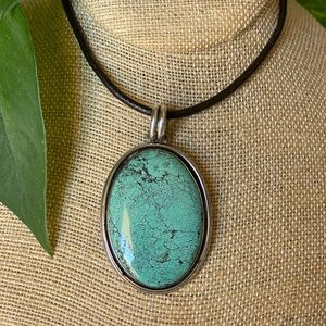 Turquoise Sterling Large Pendant Signed